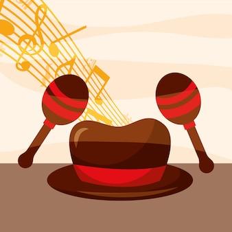 Chapéu festival de jazz para o homem maracas notas musicais quaver