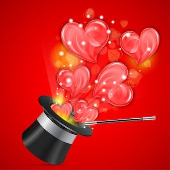 Chapéu mágico com corações vermelhos em explosão