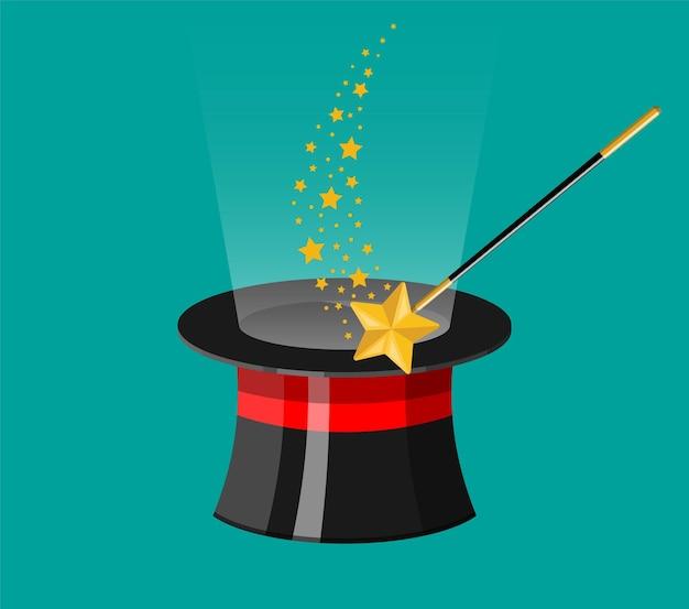 Chapéu mágico com varinha. chapéu cilíndrico ilusionista com bastão mágico. circo, show de mágica, comédia.