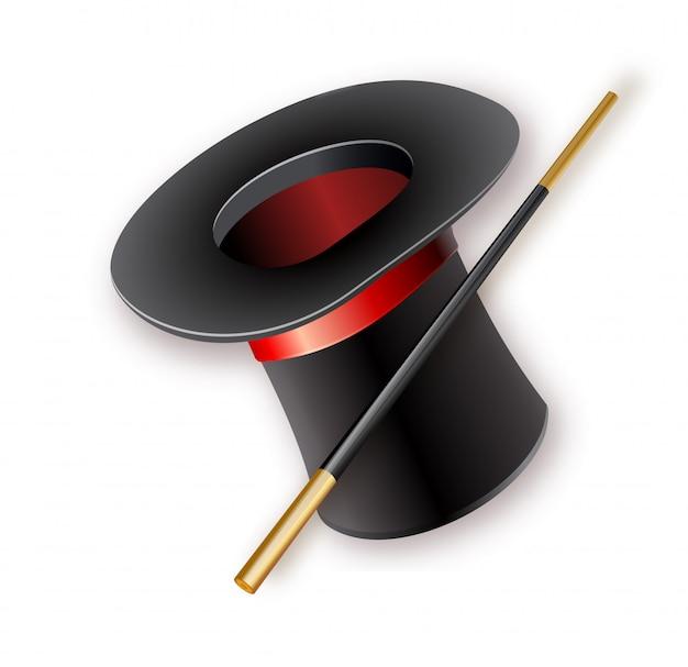 Chapéu mágico com varinha mágica, ícone realista isolado