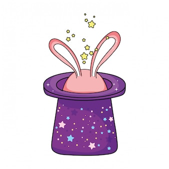 Chapéu mágico de conto de fadas com orelhas de coelho