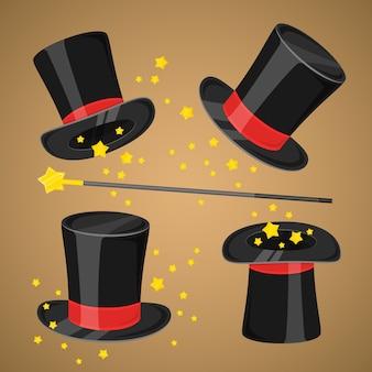 Chapéu mágico e varinha com brilhos