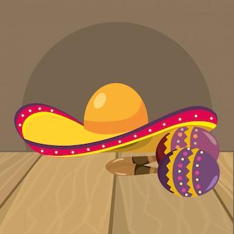 Chapéu mariachi e maracas