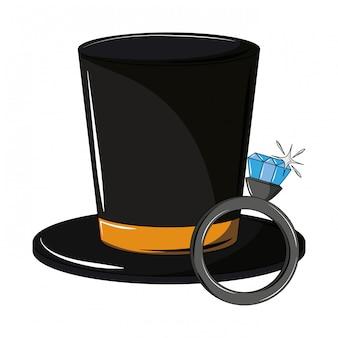 Chapéu masculino vintage e anel de casamento