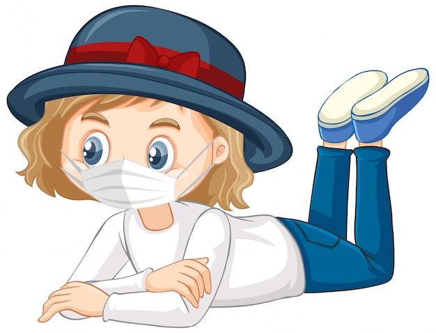 Chapéu menina personagem vestindo máscara