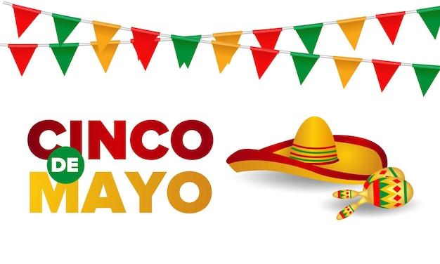 Chapéu mexicano tradicional de cartão cinco de mayo.