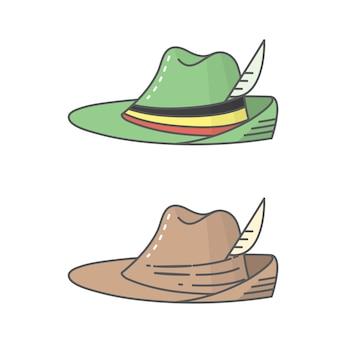 Chapéu nacional alemão para o festival da cerveja oktoberfest - arte de linha de ícone