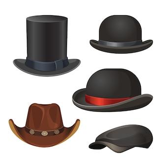 Chapéu para homens definido em cores pretas e marrons com e sem fitas isoladas em vetor branco. top e cocares em forma de coco
