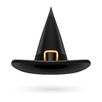 Chapéu preto de bruxa com fivela e fita douradas