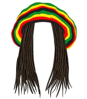 Chapéu rasta jamaicano. cabelo dreadlocks.reggae. avatar engraçado