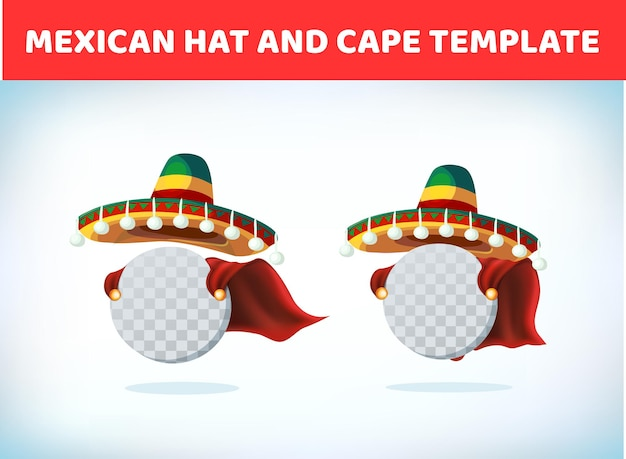 Chapéu sombrero. chapéu mexicano. cocar de fantasia de baile de máscaras ou carnaval. ilustração vetorial.