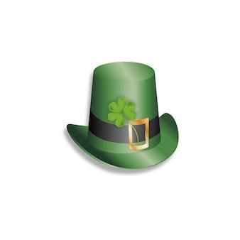 Chapéu verde de st. patrick com folhas de trevo irlandês. folhas de trevo de vetor de malha 3d, isoladas no fundo branco, símbolo irlandês