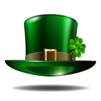 Chapéu verde do dia de são patrício com trevo