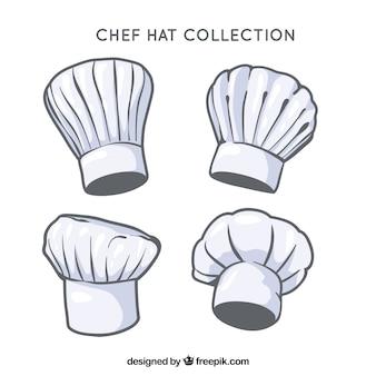 Chapéus de chef com diferentes tipos de desenhos