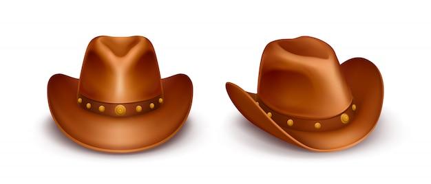 Chapéus de cowboy de couro marrom vector realista