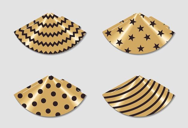 Chapéus de festa para impressão. imprimir e cortar. elementos de feliz aniversário. conjunto de modelo de cones para ir de férias.