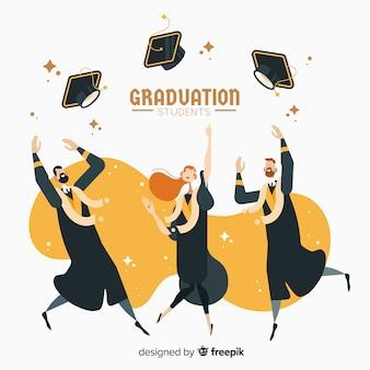 Chapéus de formatura de estudantes no ar