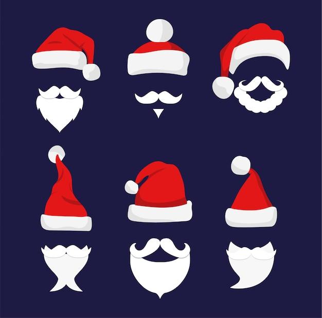 Chapéus de papai noel, bigode e barbas.