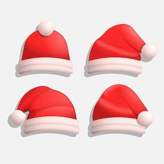 Chapéus de papai noel de natal realista