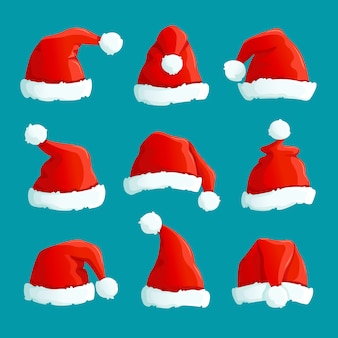 Chapéus de papai noel vermelho. bonés engraçados de natal.