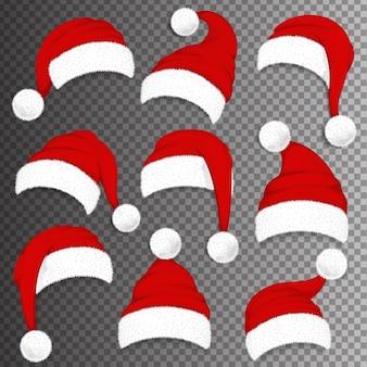 Chapéus de papai noel vermelho de natal com sombra no fundo transparente. ilustração