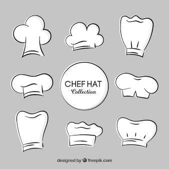 Chapéus desenhados mão decorativos do cozinheiro