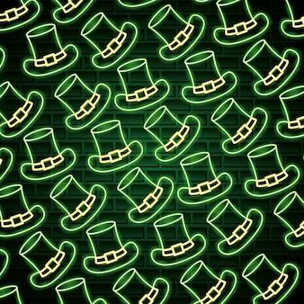 Chapéus do dia de são patrício em estilo neon