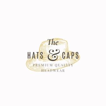 Chapéus e bonés armazenam sinal abstrato, símbolo ou modelo de logotipo.