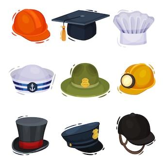 Chapéus profissionais em fundo branco. ilustração.