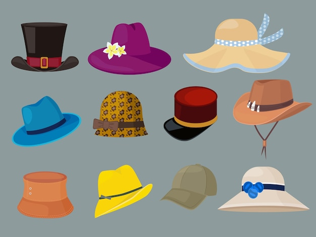 Chapéus. roupas da moda para homem elegante e conjunto de desenhos animados de guarda-roupa de mulher.