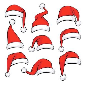 Chapéus vermelhos de santa com pele branca. decoração isolada do vetor do feriado do natal. natal, chapéu, papai noel, ilustração
