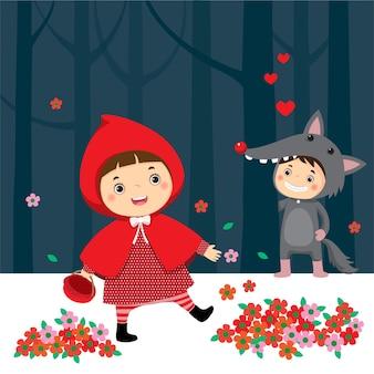 Chapeuzinho vermelho e lobo cinza