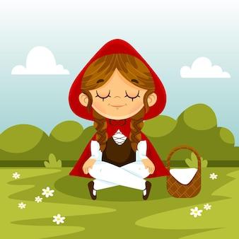 Chapeuzinho vermelho ilustrado de desenho animado