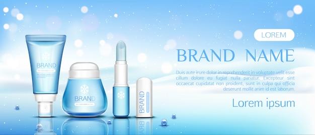 Chapstick cosmético de inverno, protetor labial e frasco de creme