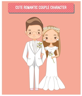 Charactor lindo casal romântico para cartão de convites de casamento