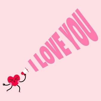 Charater coração bonito está gritando eu te amo