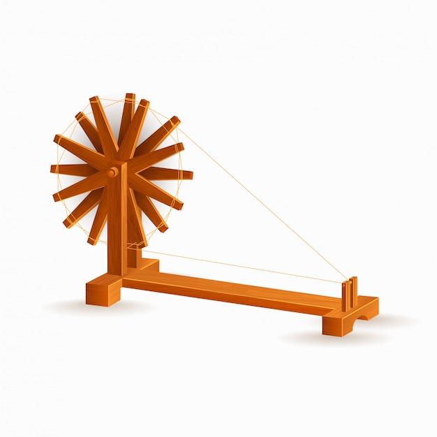 Charkha ou elemento de roda de fiação na cor marrom.