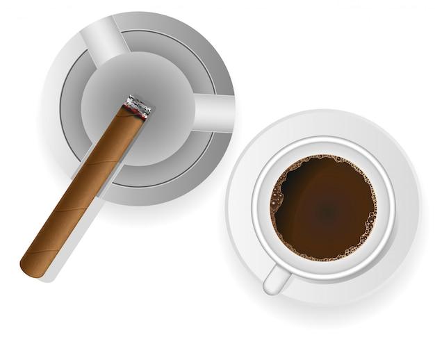 Charuto ardente em um cinzeiro e ilustração vetorial de café