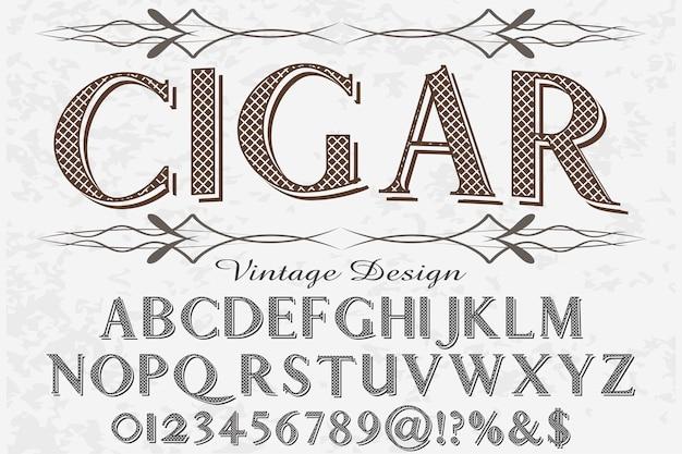 Charuto de design de rótulo de alfabeto de efeito sombra