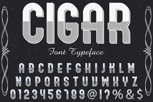 Charuto de design de rótulo de tipo de letra