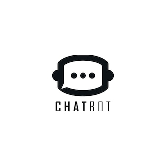 Chat e logotipo do monograma da cabeça do robô. modelo de design de logotipo do chatbot.