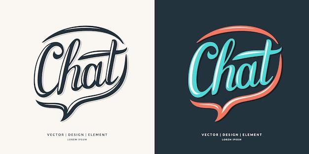 Chat, frase de letras desenhada à mão moderna