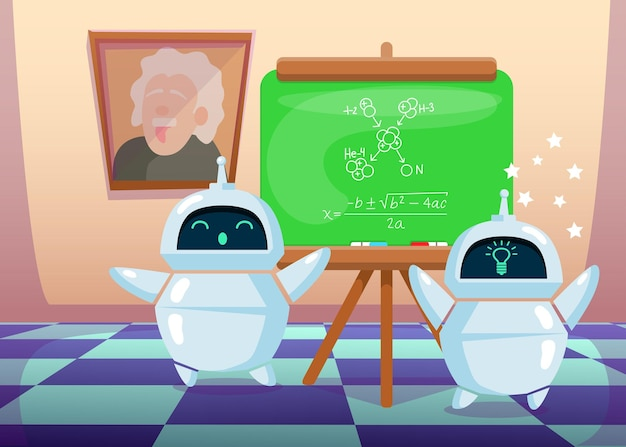 Chatbot bonito dos desenhos animados fazendo nova descoberta científica. ilustração plana.