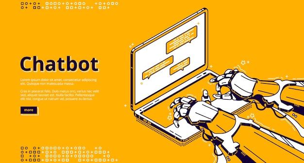 Chatbot com mensagem de digitação de inteligência artificial no chat de suporte. assistente virtual com ai, serviço digital para comunicação online. página inicial com mãos de robô isométrico e laptop