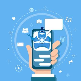 Chatbot conceito suporte robot tecnologia digital chat bot aplicação no telefone inteligente