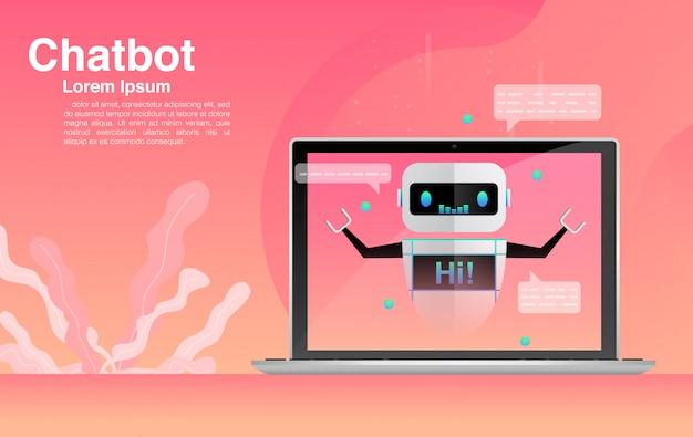 Chatbot, conversando com o aplicativo chatbot, tecnologia chatbot e centro de ajuda on-line.