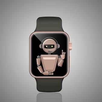 Chatbot de relógio inteligente, assistente virtual. bot de suporte de voz. bot de suporte online. ilustração.