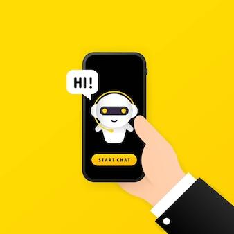 Chatbot em ilustração de smartphone e mensagem hi ou assistente de bot online