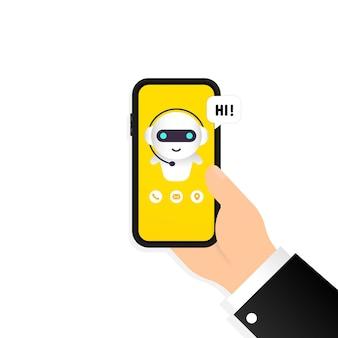 Chatbot em ilustração de smartphone. olá, mensagem. modelo de página de destino do bot de assistente online. diálogo. suporte técnico. para página da web. vetor em fundo branco isolado. eps 10