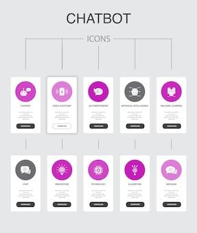 Chatbot infográfico 10 etapas ui design.voice assistant, autoresponder, chat, technology simple icons